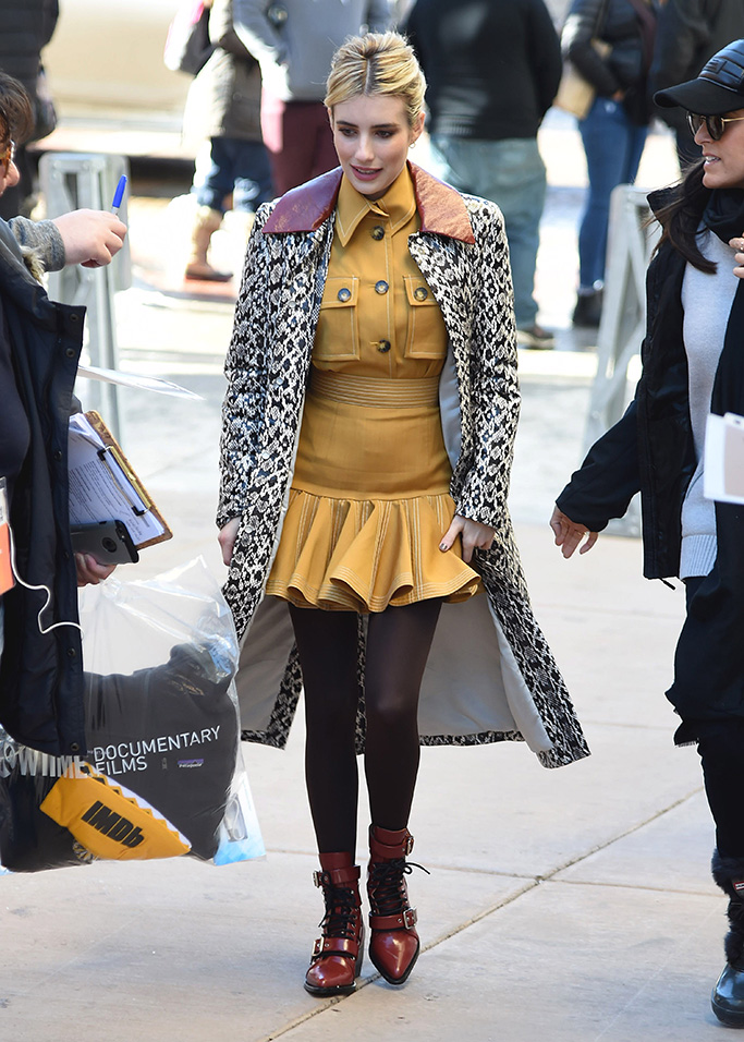 Emma RobertsEmma Roberts out and about, Sundance Film Festival, Park City, USA - 26 Jan 2019 Wearing Drone, Coat, Wearing Zimmermann, Boots By Chloe