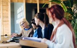 Women working at an office