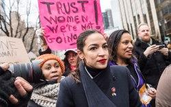 Alexandria Ocasio-Cortez attends the Women's March