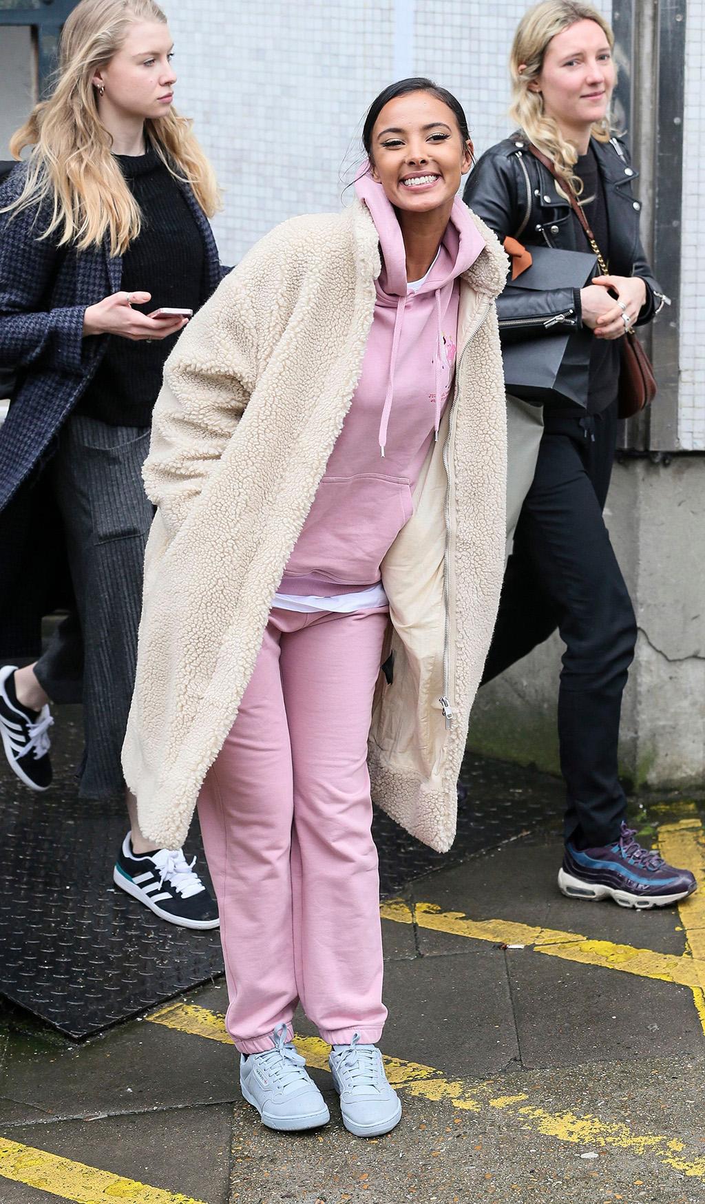 Maya JamaCelebrities at the ITV studios, London, UK - 19 February 2018. WEARING HIGH-STREET WEEKDAY COAT AND OPENING CEREMONY TRACKSUIT SHOES BY YEEZY X ADIDAS