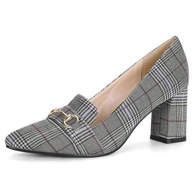 Allegra K Heel Plaid Pumps