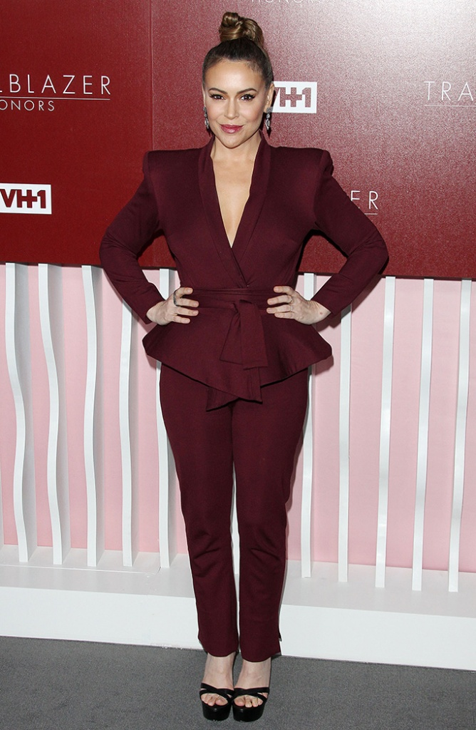 Alyssa Milano, burgundy pantsuit, black sandals, red carpet, VH1 Trailblazer Honors, Arrivals, Wilshire Ebell Theatre, Los Angeles, USA - 20 Feb 2019Wearing Michael Costello