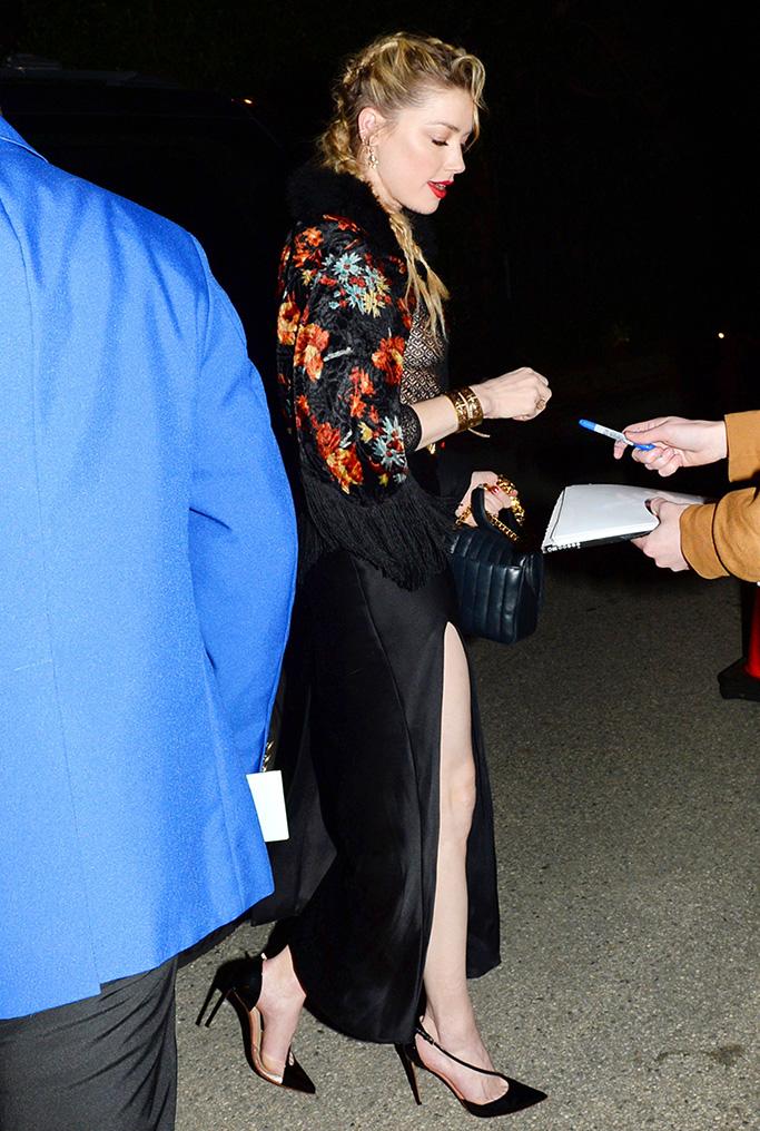 Amber Heard, sheer shirt, thigh-high slit, black high heels, WME Pre-Oscar Party, Arrivals, Los Angeles, USA - 22 Feb 2019