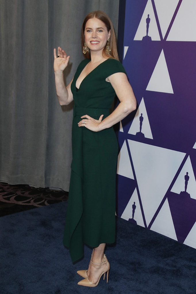 Amy Adams, green dress, high heels, red carpet, oscars, The Academy Awards Nominees Luncheon, Los Angeles, USA - 04 Feb 2019Wearing Oscar De La Renta, Shoes by Christian Louboutin