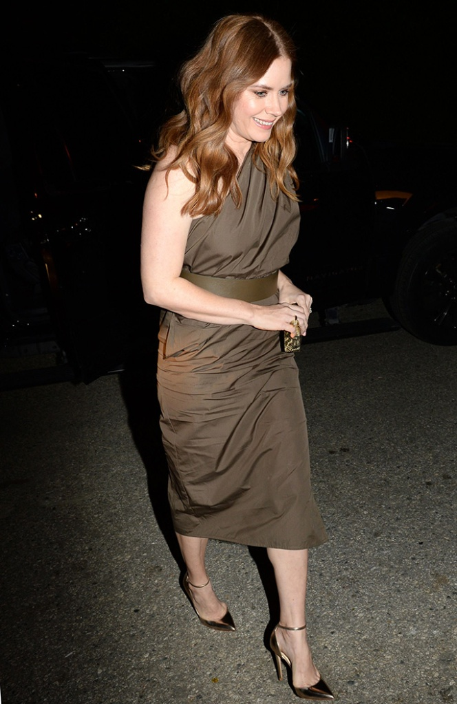 Amy Adams, jimmy choo lucy, gold high heels, taupe dress, WME Pre-Oscar Party, Arrivals, Los Angeles, USA - 22 Feb 2019