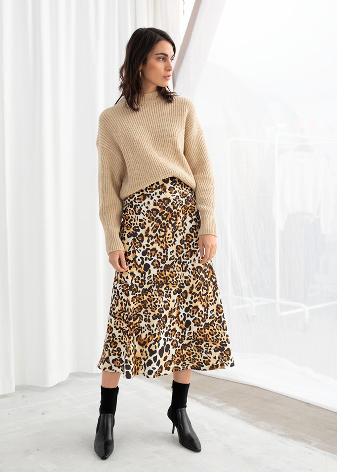 & Other Stories jaguar print midi skirt
