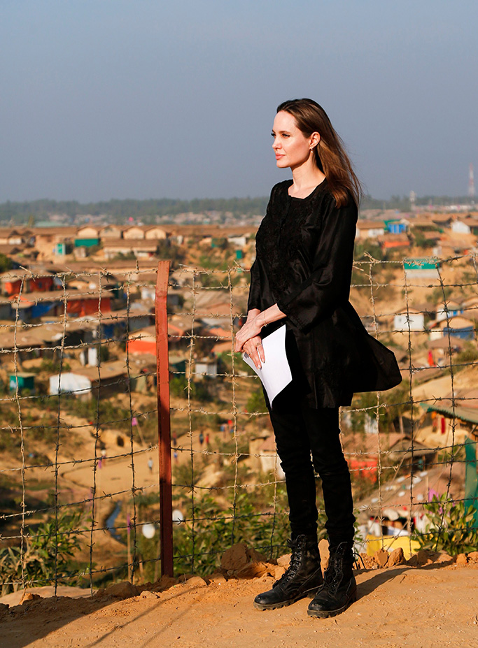 The United Nations High Commissioner for Refugees (UNHCR) special envoy, US actress, film-maker Angelina Jolie during her visit to Kutupalong camp for Rohingya refugees in Teknuf, Cox's bazar in Bangladesh, 05 February 2019. According to the local media Angelina Jolie is in Bangladesh on a three-day visit to assess the humanitarian needs and some of the more critical challenges the country is facing as a host.US actress Angelina Jolie visits Rohingya camp in Bangladesh, Teknuf - 05 Feb 2019