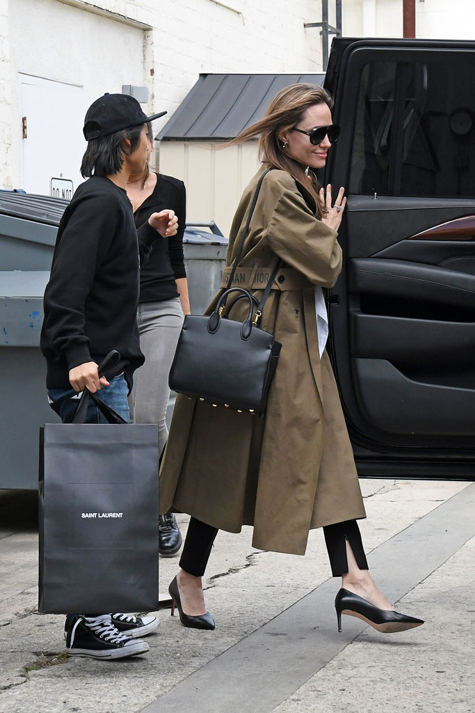 Angelina Jolie, celebrity style, shopping, Pax, converse, sneakers, dior, salvatore ferragamo, coat, sunglasses