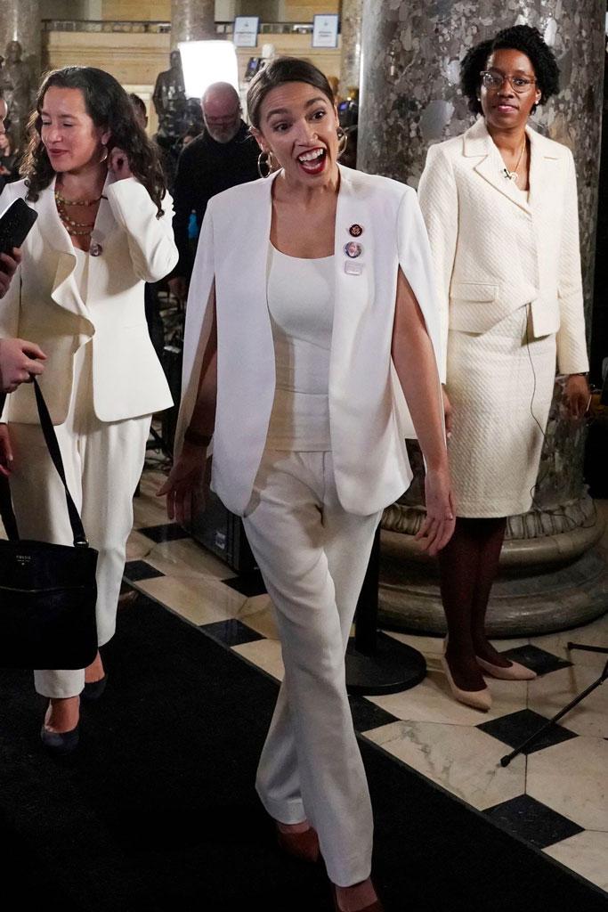 Alexandria Ocasio-Cortez, state of the union, white outfit, cape, brown pumps, style, fashion, congresswoman