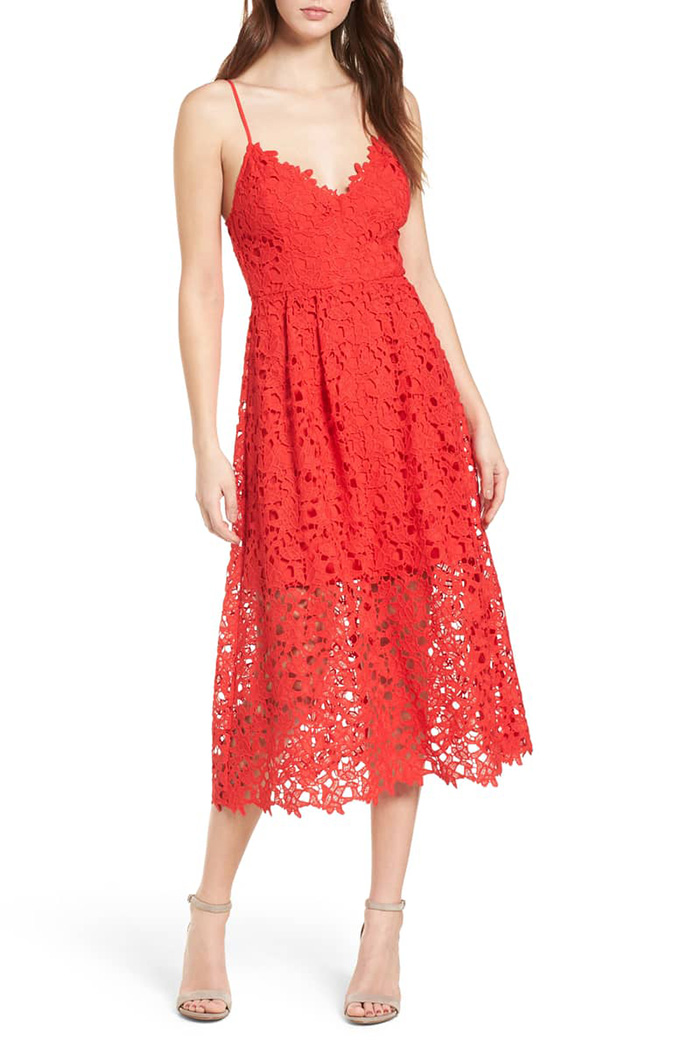 ASTR The Label lace midi dress.