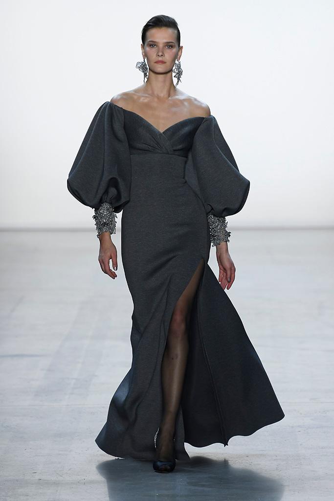Model on the catwalkBadgley Mischka show, Runway, Fall Winter 2019, New York Fashion Week, USA - 07 Feb 2019