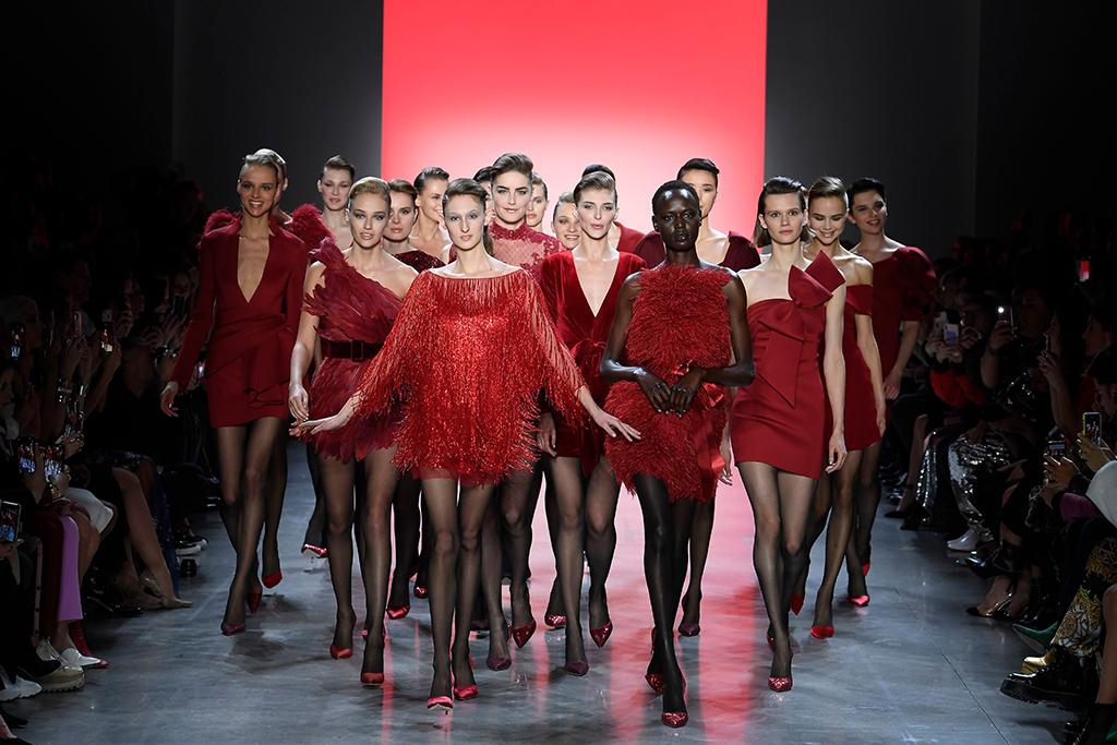 Models on the catwalkBadgley Mischka show, Runway, Fall Winter 2019, New York Fashion Week, USA - 07 Feb 2019