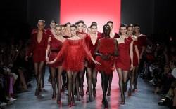 Models on the catwalkBadgley Mischka show,