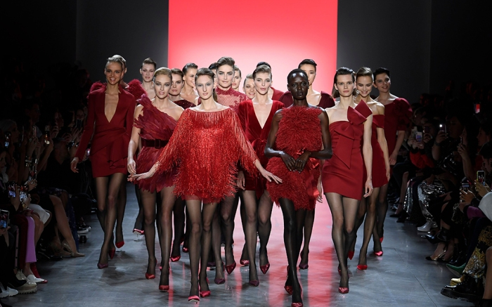 Models on the catwalkBadgley Mischka show, Runway, Fall Winter 2019, New York Fashion Week, USA - 07 Feb 2019