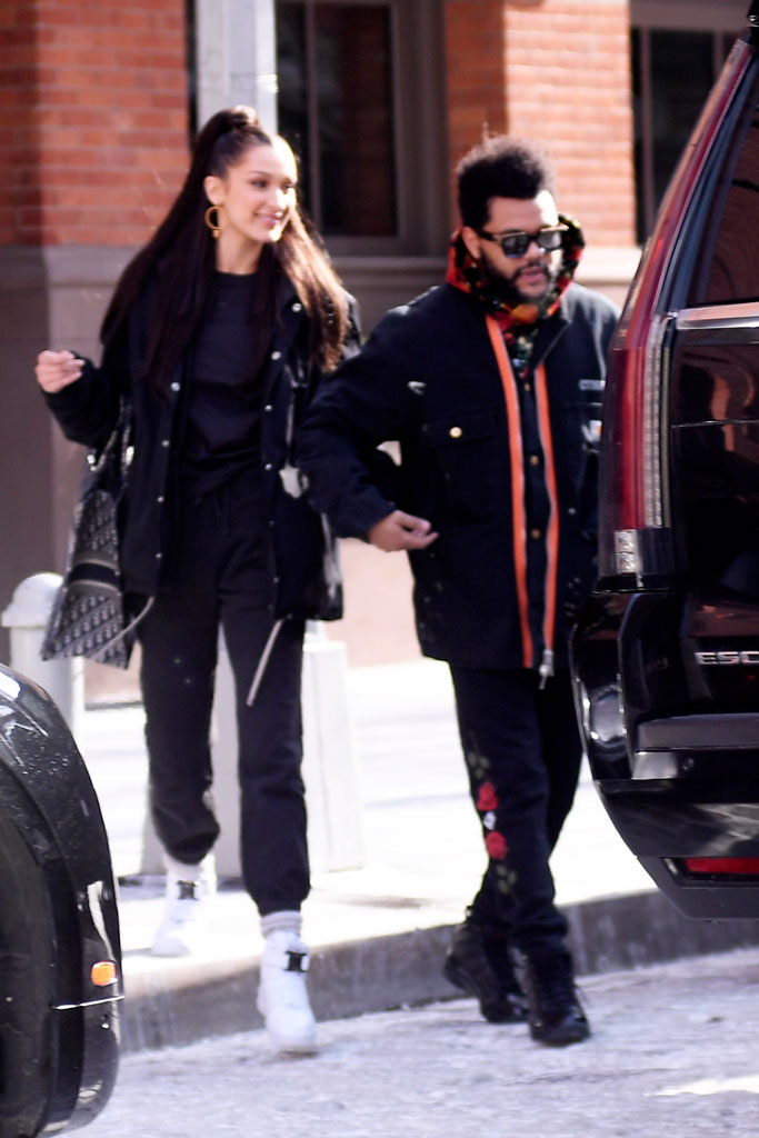 Bella Hadid, the weeknd, date, celebrity style, new york, dior, alyx studio, nike, sneakers, celebrity couple