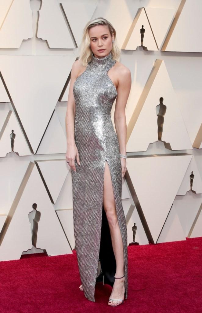 Brie Larson, celine, jimmy choo, sandals, silver gown, red carpet, oscars,
