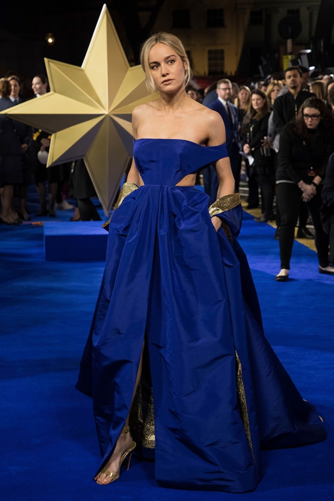 Brie Larson, christian louboutin, valentino, blue gown, poses for photographers upon arrival at the premiere of the film 'Captain Marvel', in LondonCaptain Marvel Premiere, London, United Kingdom - 27 Feb 2019