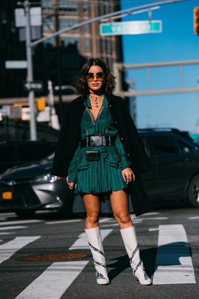 Camila Coelho, self-portrait, minidress, boots, Tibi, street style, nyfw, fall 2019