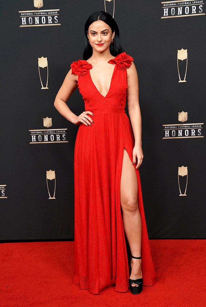 Camila Mendes arrives at the 8th Annual NFL Honors at The Fox Theatre, in Atlanta8th Annual NFL Honors, Atlanta, USA - 02 Feb 2019, celebrity style, heels, red dress, prabal gurung