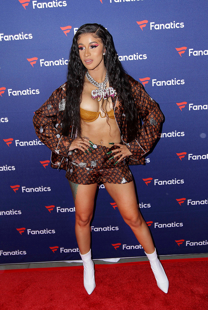 Cardi B, celebrity style, abs, legs, louis vuitton, bra, white boots, shorts, Michael Rubin's Fanatics Super Bowl LIII Party, Atlanta, USA - 02 Feb 2019