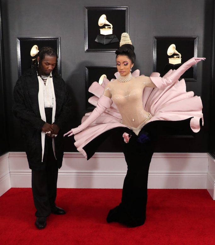 cardi b, offset, 2019 grammy awards, red carpet, celebrity style, thierry mugler, clam