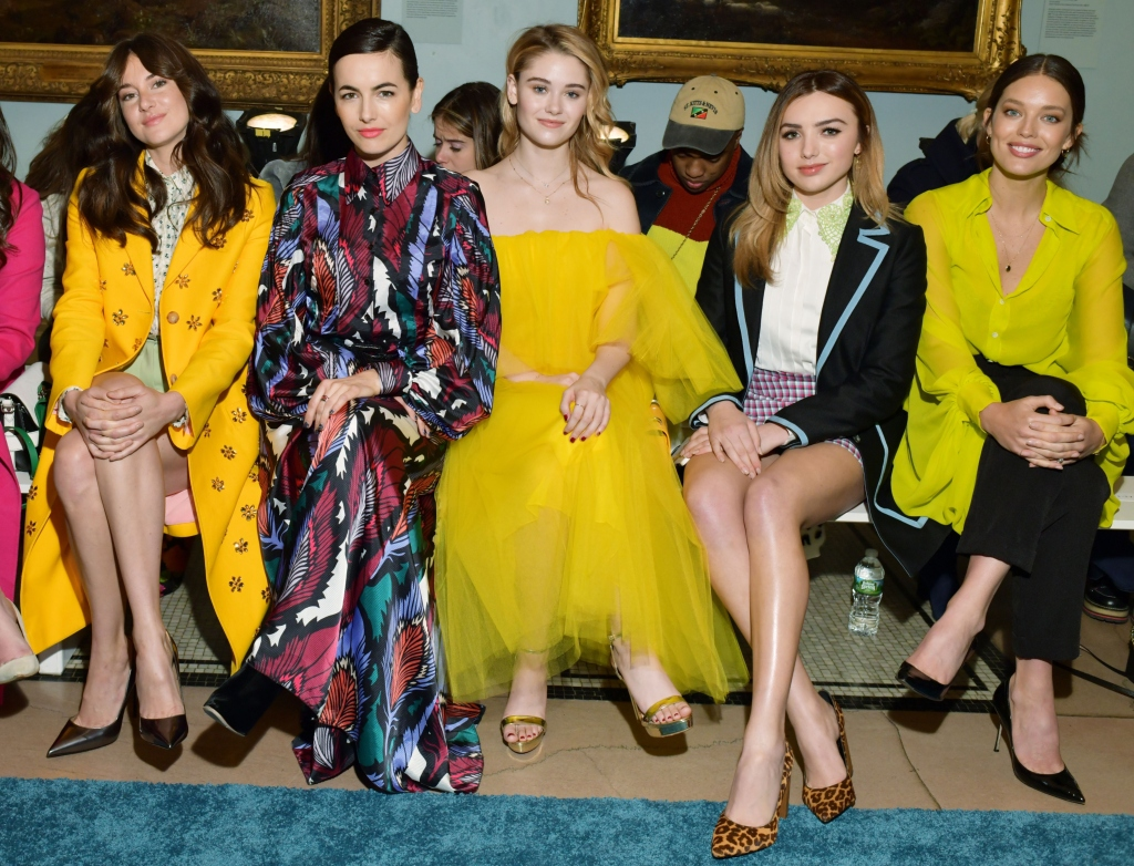 Shailene Woodley, Camilla Belle, Virginia Gardener, Peyton List, Emily Didonato, carolina herrera fall 2019 front row