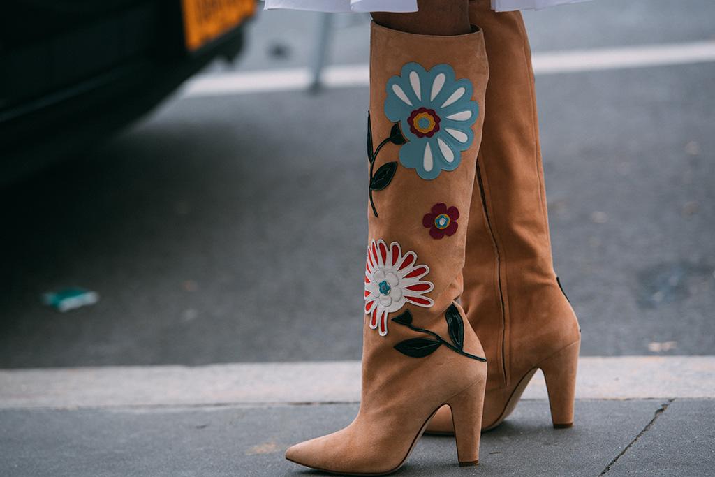 Carolina Herrera, floral, boots, street style, new york fashion week, fall 2019