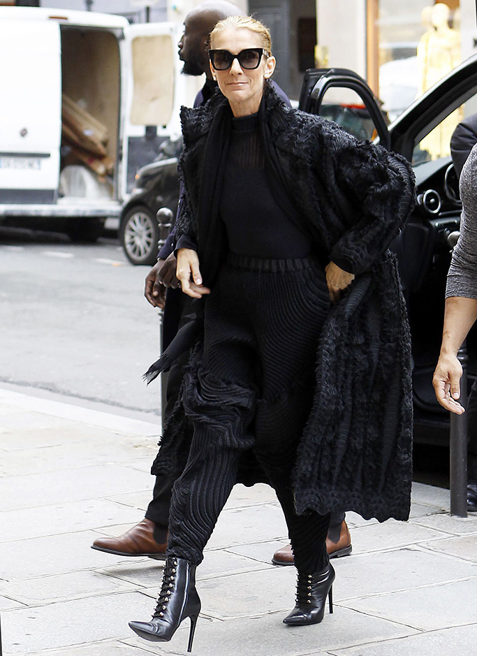 Celine Dion, Balenciaga, Celine Dion shopping at Balenciaga, Paris, France, issey miyake, cardigan, high heels, boots, celebrity style, paris