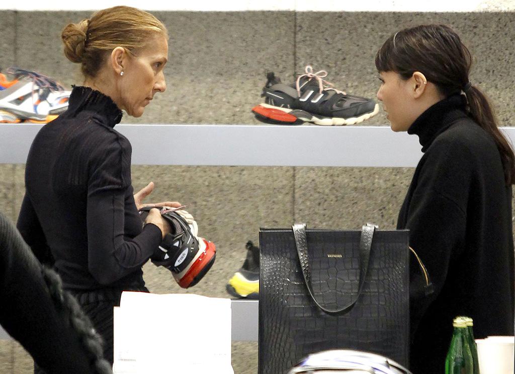 Celine Dion, Balenciaga, celebrity style, street style, shopping, sneakers, Celine Dion shopping at Balenciaga, Paris, France - 01 Feb 2019
