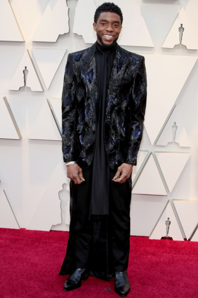 Chadwick Boseman, sequined blazer, wide legged pants, academy awards, oscars, 2019