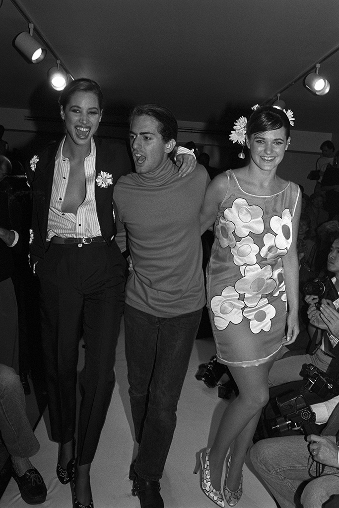 Christy Turlington, first runway, celebrating with Marc Jacobs on the runway after a show for his label's Spring 1988 collectionMarc Jacobs Spring 1988 RTW