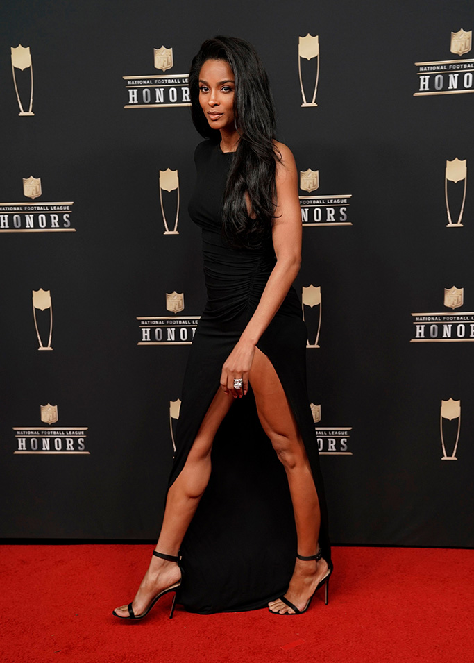 Ciara, NFL honors, super bowl, celebrity style, red carpet, alexandre vauthier, gianvito rossi, sandals, legs, thigh-high slit, russell wilson