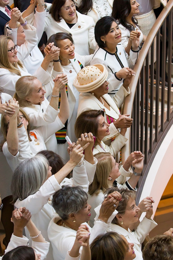 House Speaker Nancy Pelosi of Calif., center right, is joined by other women wearing white, as they hold hands while posing for a group photo before the State of the Union address by President Donald Trump, on Capitol Hill, in WashingtonState of Union, Washington, USA - 05 Feb 2019