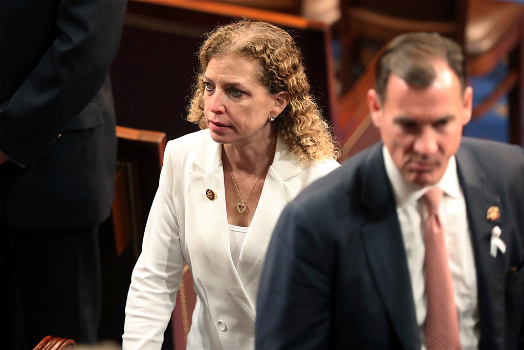 Rep. Debbie Wasserman Schultz, D-Fla., arrives to hear President Donald Trump deliver his State of the Union address to a joint session of Congress on Capitol Hill in WashingtonState of Union, Washington, USA - 05 Feb 2019