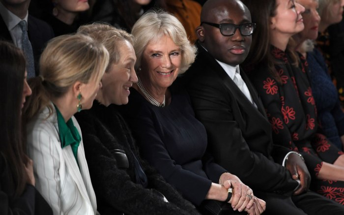 Bethany Williams show, Camilla Duchess of Cornwall, Edward Enninful, Justine Picardie in the front row, camilla parker bowles