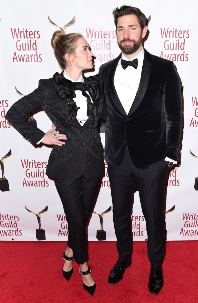 emily blunt, jimmy choo heels, dolce and gabbana suit, john krasinski, writer's guild awards