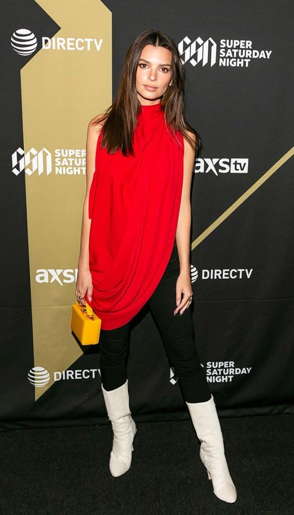 Emily Ratajkowski, red top, white boots, DIRECTV Super Saturday Night, Atlanta, USA - 02 Feb 2019