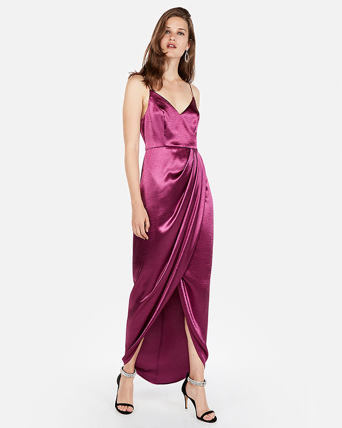 Express satin wrap front maxi dress.