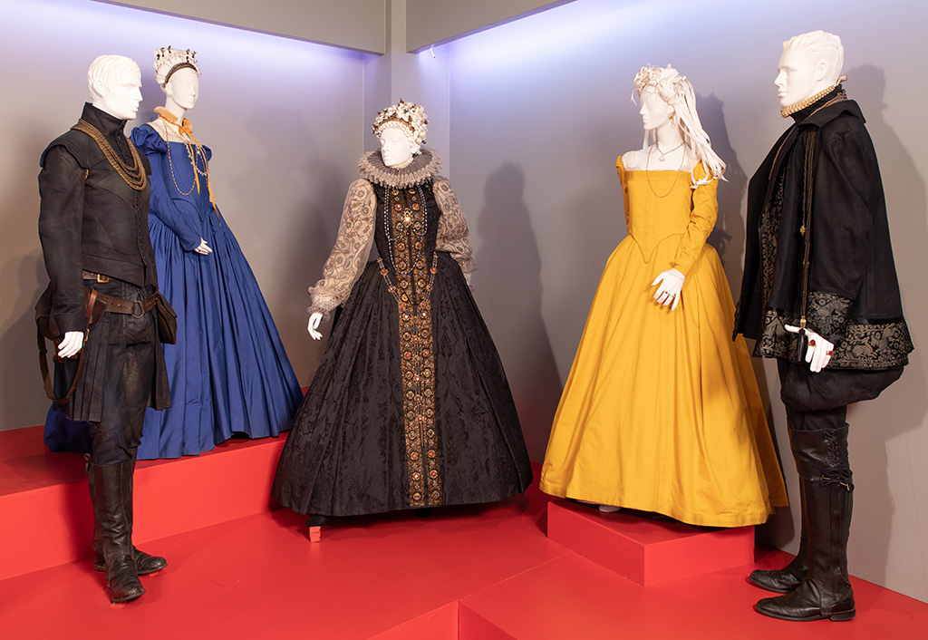"""""""Mary Queen of Scots"""" costumes by Alexandra Byrne, 2019 Academy Award nominee for Costume Design. These costumes can be seen in the 27th Annual """"Art of Motion Picture Costume Design"""" exhibition, FIDM Museum, Fashion Institute of Design & Merchandising, Los Angeles. The exhibition is free to the public, Tuesday, February 5, through Friday, April 12, 2019, 10:00 a.m. - 5:00 p.m. (L to R) Costume worn by actor: James McArdle as James, Earl of Moray, Saoirse Ronan as Mary Stuart, Margot Robbie as Queen Elizabeth I, Saoirse Ronan as Mary Stuart and Jack Lowden as Henry Darnley(Photo: Alex J. Berliner/ABImages)"""
