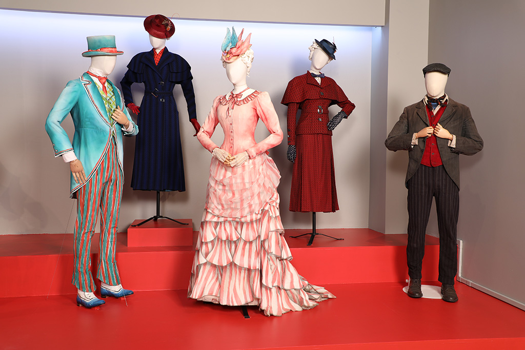 """""""Mary Poppins Returns"""" costumes by Sandy Powell, 2019 Academy Award nominee for Costume Design. These costumes can be seen in the 27th Annual """"Art of Motion Picture Costume Design"""" exhibition, FIDM Museum, Fashion Institute of Design & Merchandising, Los Angeles. The exhibition is free to the public, Tuesday, February 5, through Friday, April 12, 2019, 10:00 a.m. - 5:00 p.m. (L to R) Costumes worn by actors: Lin-Manuel Miranda as Jack, Emily Blunt as Mary Poppins, Emily Blunt as Mary Poppins, Emily Blunt as Mary Poppins and Lin-Manuel Miranda as Jack (Photo: Alex J. Berliner/ABImages)"""