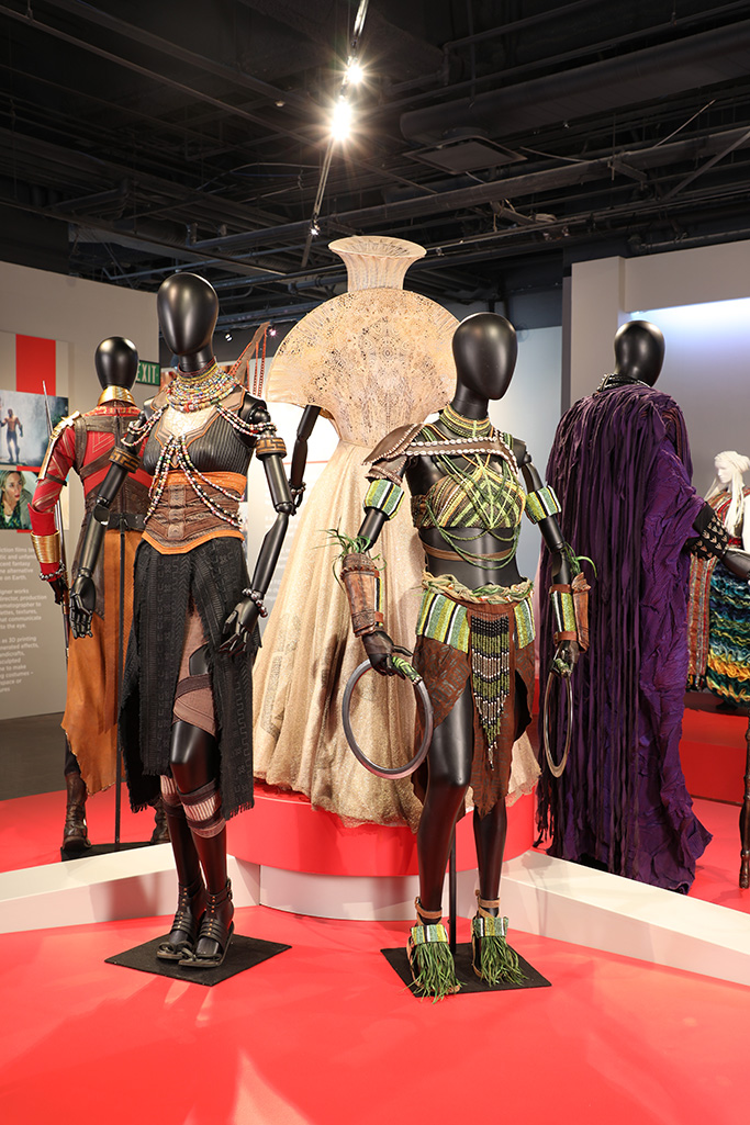 "Black Panther costumes by Ruth Carter, 2019 Academy Award nominee for Costume Design. These costumes can be seen in the 27th Annual ""Art of Motion Picture Costume Design"" exhibition, FIDM Museum, Fashion Institute of Design & Merchandising, Los Angeles. The exhibition is free to the public, Tuesday, February 5, through Friday, April 12, 2019, 10:00 a.m. - 5:00 p.m. (L to R) Costumes worn by actors: Letitia Wright as Shuri and Lupita Nyong'o as Nakia(Photo: Alex J. Berliner/ABImages)"