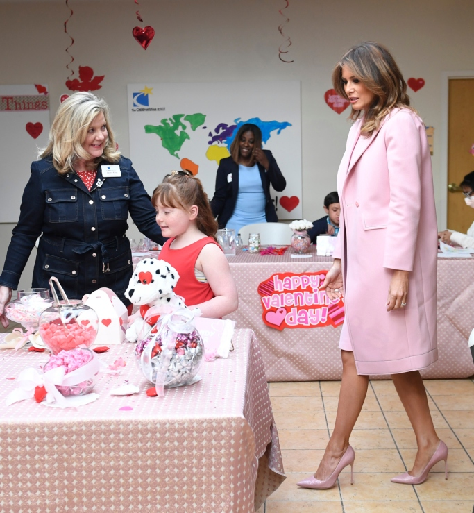 first lady melania trump, valentine's day, pink pumps, Cedric Charlier Pink Coat