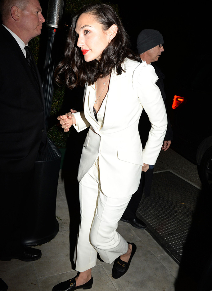 Gal Gadot, white pantsuit, gucci loafers, WME Pre-Oscar Party, Arrivals, Los Angeles, USA - 22 Feb 2019