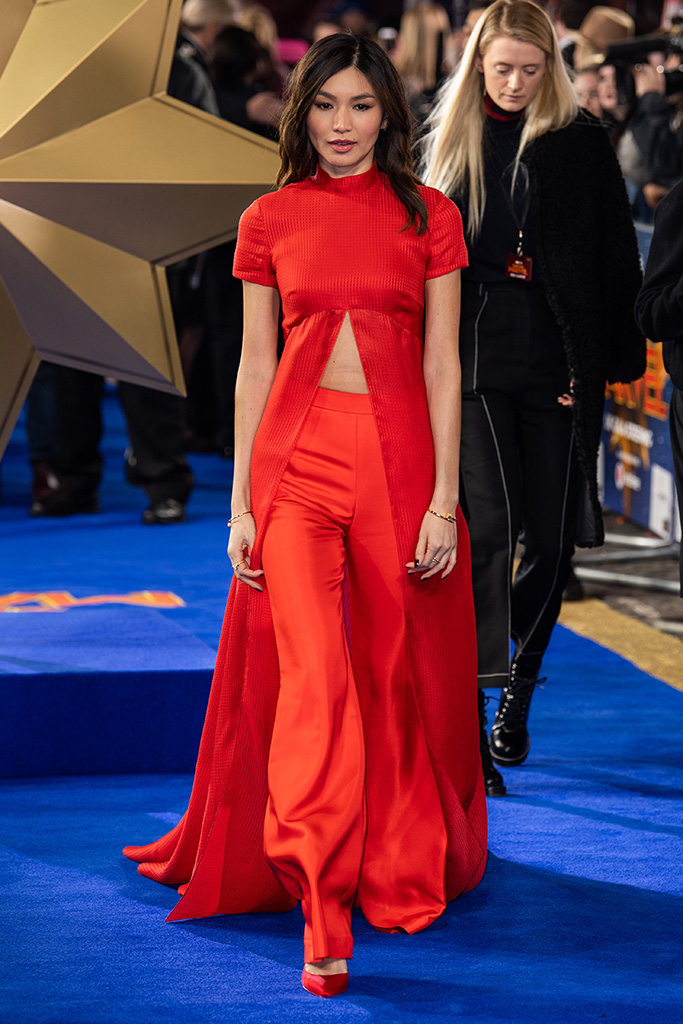 Gemma Chan', red carpet, celebrity style, Captain Marvel' film premiere, Arrivals, London, UK - 27 Feb 2019Wearing Brandon Maxwell same outfit as catwalk model *9877071t