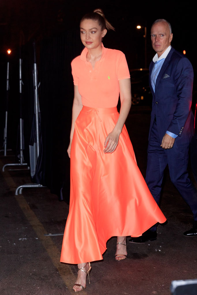 Gigi Hadid, Ralph Lauren, Maybelline, celebrity style, NYFW, orange, polo shirt, skirt, gold sandals