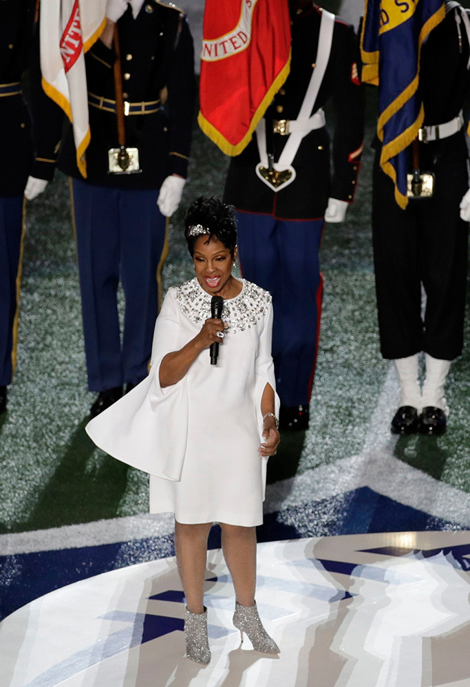 Gladys Knight, white dress, silver boots, Super Bowl, national anthem, halftime show, celebrity style, atlanta, singer