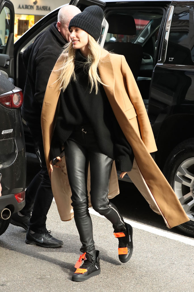 hailey baldwin, hailey bieber, new york, leather pants, turtleneck, paul & joe, coat, off-white, sneakers, celebrity style, barney's, february 2019