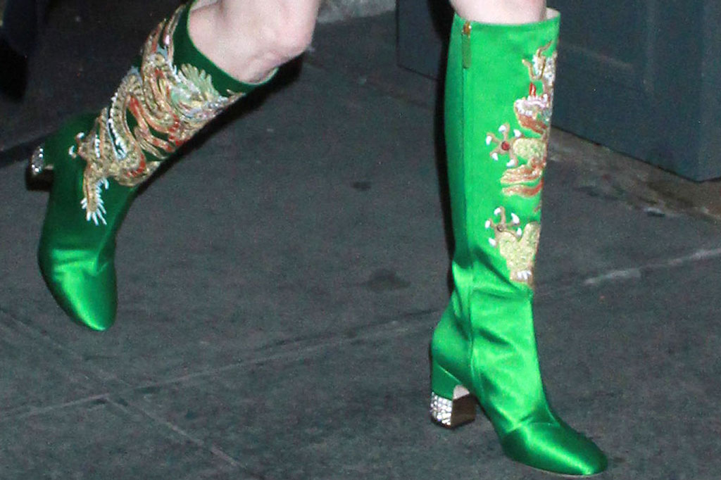 Jessica Chastain, gucci, satin, green, boots, celebrity style, street style