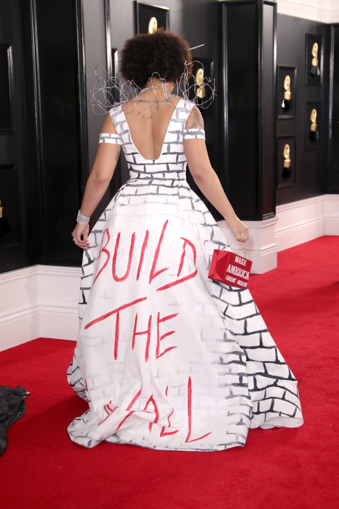 joy villa, red carpet, grammy awards, 2019, donald trump, make america great again, build the wall, barbed wire