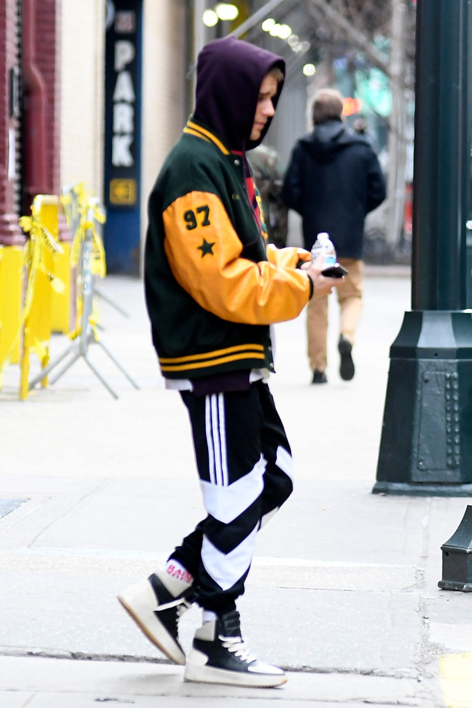 justin bieber, hailey, hillsong church, february 2019, varsity jacket, high-top sneakers